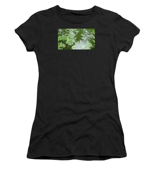 Water Lily Leaves And Palm Trees Women's T-Shirt (Athletic Fit)