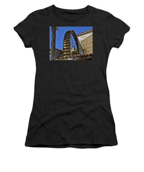 Women's T-Shirt (Junior Cut) featuring the photograph Water Wheel At Moulin A Huile Michel by Allen Sheffield