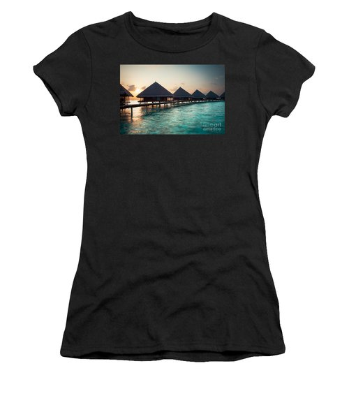 Waterbungalows At Sunset Women's T-Shirt (Athletic Fit)