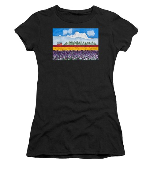 Watercolor Painting Landscape Of Skagit Valley Tulip Fields Art Women's T-Shirt
