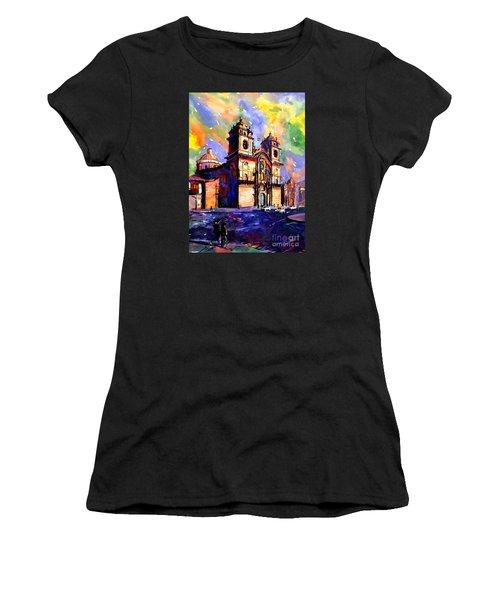 Watercolor Painting Of Church On The Plaza De Armas Cusco Peru Women's T-Shirt (Junior Cut) by Ryan Fox