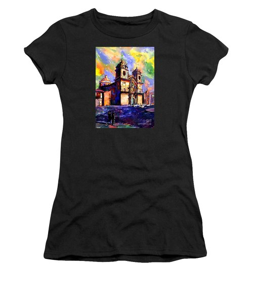 Watercolor Painting Of Church On The Plaza De Armas Cusco Peru Women's T-Shirt (Athletic Fit)