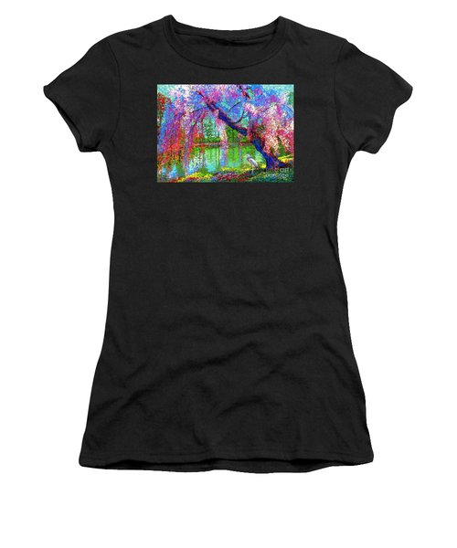 Weeping Beauty, Cherry Blossom Tree And Heron Women's T-Shirt (Athletic Fit)