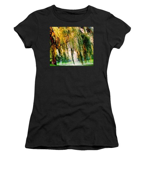 Weeping Willow Tree Painterly Monet Impressionist Dreams Women's T-Shirt (Athletic Fit)