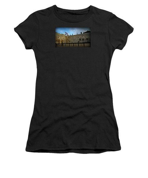Western Wall And Israeli Flag Women's T-Shirt (Junior Cut) by Stephen Stookey