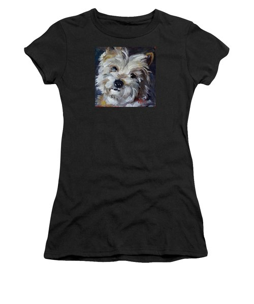 Westie Mix Women's T-Shirt (Junior Cut) by Pattie Wall