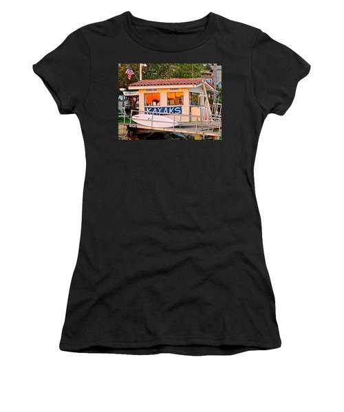 Wetspot Kayak Shack Women's T-Shirt (Junior Cut) by Jeff Gater