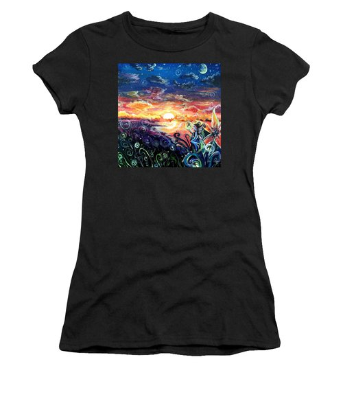 Women's T-Shirt (Junior Cut) featuring the painting Where The Fairies Play by Shana Rowe Jackson