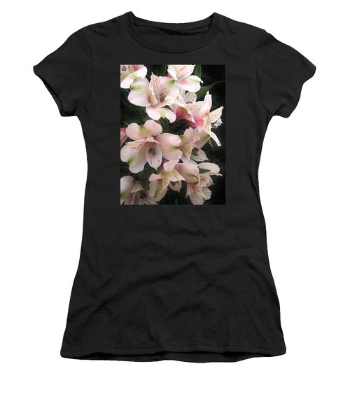 Women's T-Shirt (Junior Cut) featuring the photograph White And Pink Peruvian Lilies by Diane Alexander