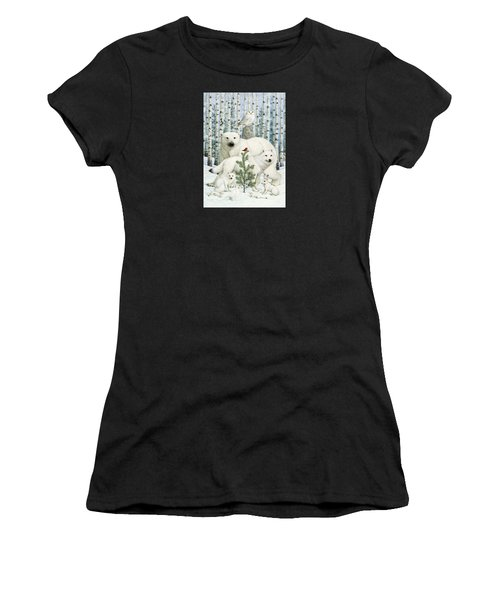 White Animals Red Bird Women's T-Shirt