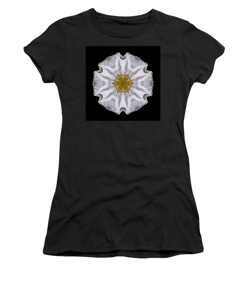 White Beach Rose I Flower Mandala Women's T-Shirt (Athletic Fit)
