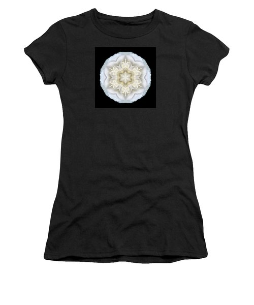 White Begonia II Flower Mandala Women's T-Shirt (Athletic Fit)