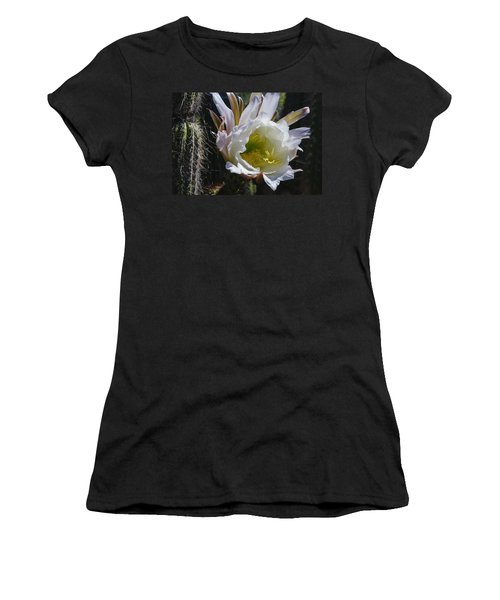 White Cactus Bloom Women's T-Shirt (Athletic Fit)