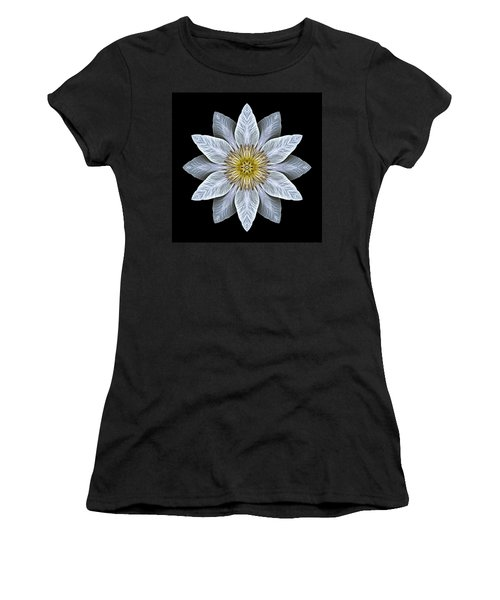 White Clematis Flower Mandala Women's T-Shirt (Athletic Fit)