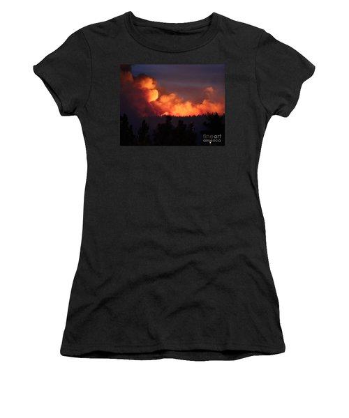 White Draw Fire First Night Women's T-Shirt (Junior Cut) by Bill Gabbert