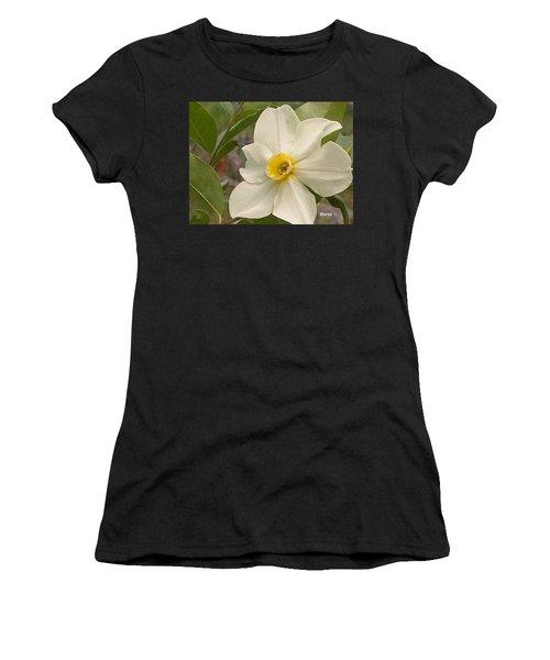 White Flower Women's T-Shirt (Athletic Fit)