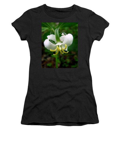 White Flowering Rose Trillium Women's T-Shirt (Athletic Fit)