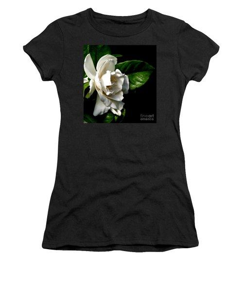 Women's T-Shirt (Junior Cut) featuring the photograph White Gardenia by Rose Santuci-Sofranko