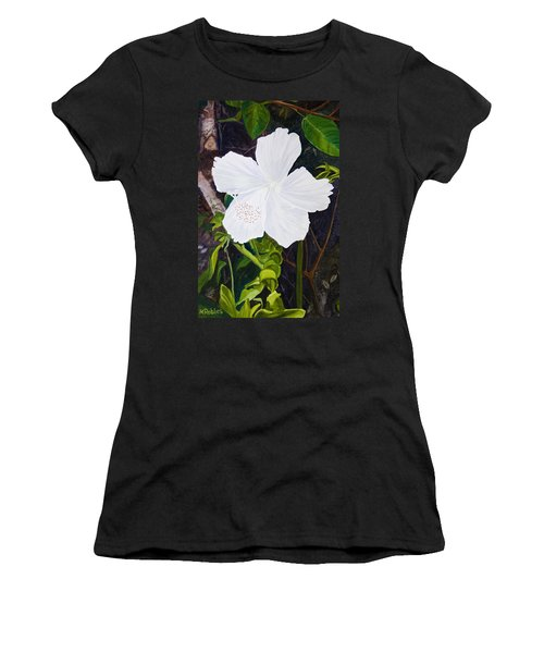 White Hibiscus Women's T-Shirt (Junior Cut) by Mike Robles