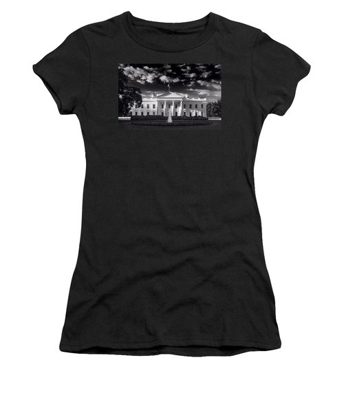 White House Sunrise B W Women's T-Shirt (Junior Cut) by Steve Gadomski