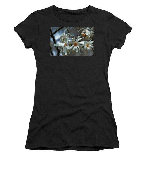 Women's T-Shirt (Junior Cut) featuring the photograph White Magnolia by Rowana Ray