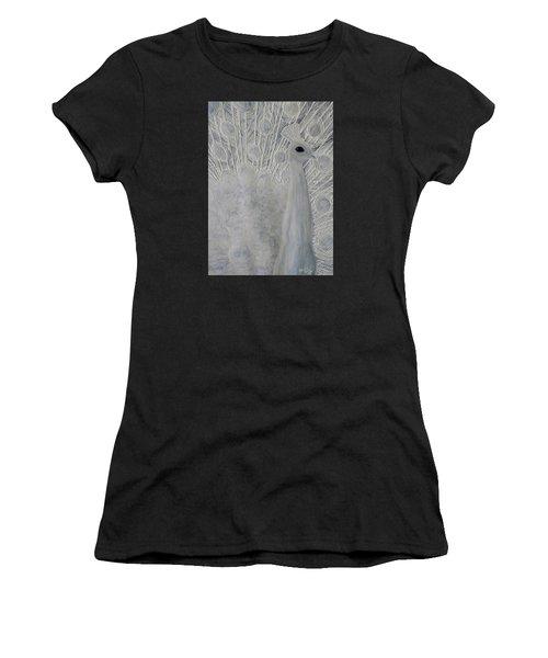 White Peacock Women's T-Shirt (Junior Cut) by Patricia Olson