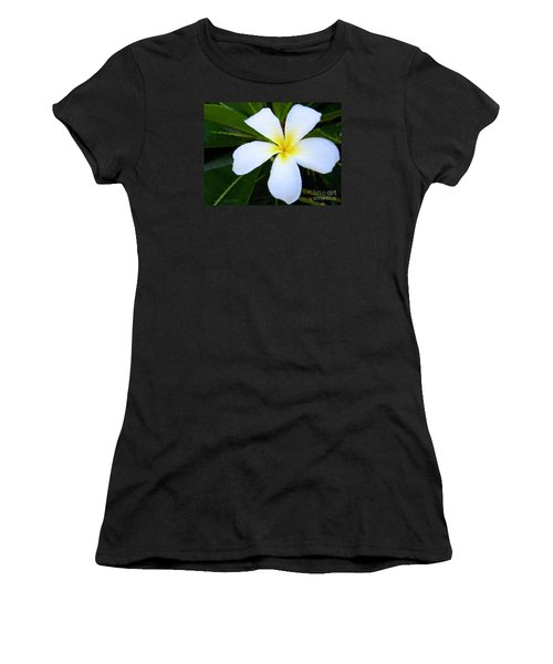 Women's T-Shirt (Junior Cut) featuring the mixed media White Plumeria by Anthony Fishburne