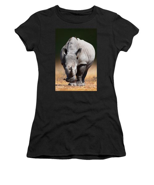 White Rhinoceros  Front View Women's T-Shirt