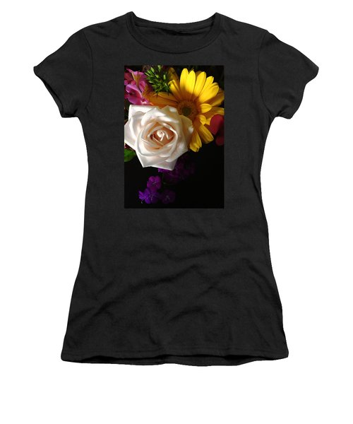 Women's T-Shirt (Junior Cut) featuring the photograph White Rose by Meghan at FireBonnet Art