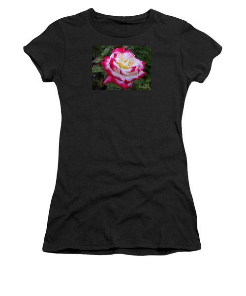 White Rose With Pink Texture Hybrid Women's T-Shirt (Athletic Fit)