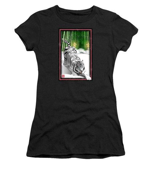 White Tiger Guardian Women's T-Shirt (Junior Cut) by John Wills