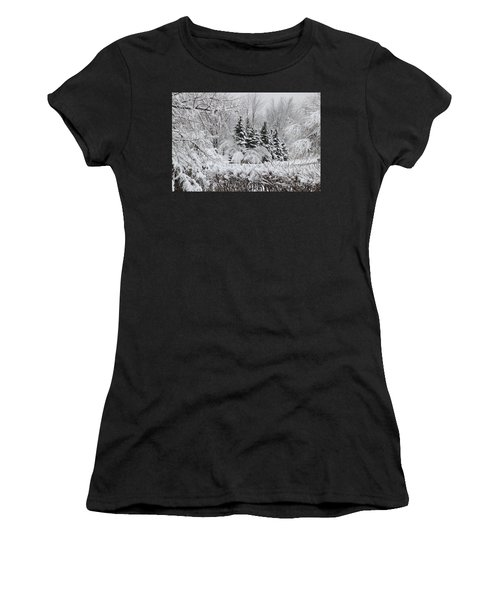 White Winter Day Women's T-Shirt (Athletic Fit)