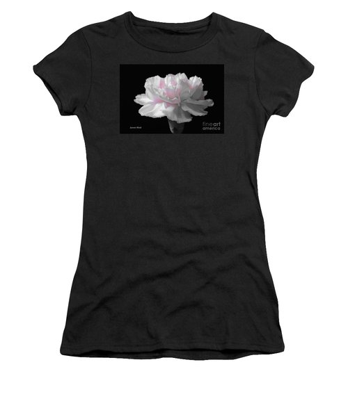 Women's T-Shirt (Junior Cut) featuring the digital art White With Pink Carnation by Jeannie Rhode