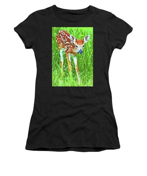 Whitetailed Deer Fawn Digital Image Women's T-Shirt