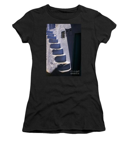 Women's T-Shirt (Junior Cut) featuring the photograph Whitewashed Steps In The Medina Of Asilah On Northwest Tip Of Atlantic Coast Of Morocco by Ralph A  Ledergerber-Photography
