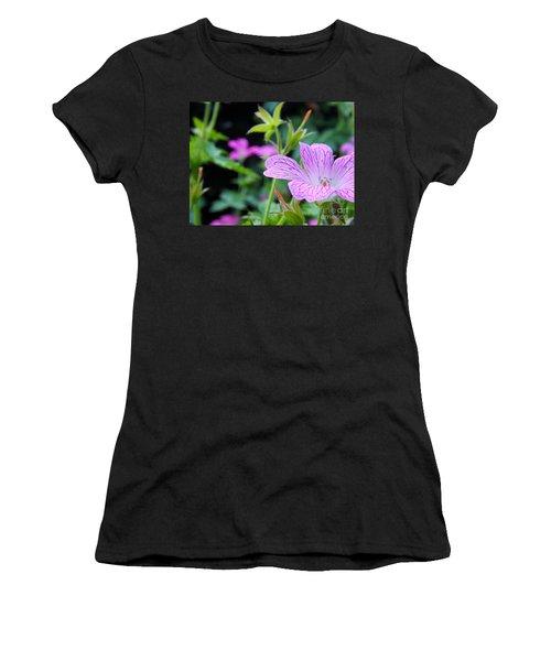 Women's T-Shirt (Junior Cut) featuring the photograph Wild Geranium Flowers by Clare Bevan