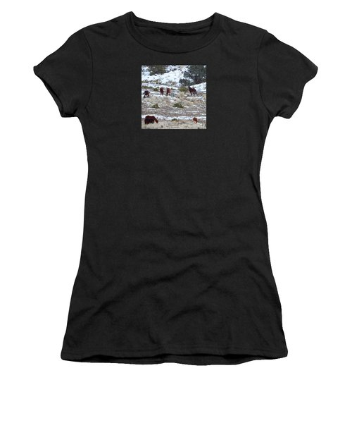 Wild Mustangs In A Nevada Winter Women's T-Shirt (Athletic Fit)