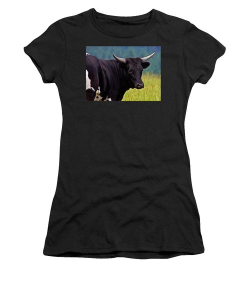 Women's T-Shirt (Junior Cut) featuring the painting Wild Type Colored Heifer Longhorn Cow by Karon Melillo DeVega