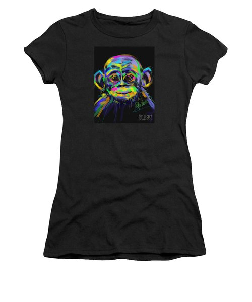 Wildlife Baby Chimp Women's T-Shirt (Junior Cut) by Go Van Kampen