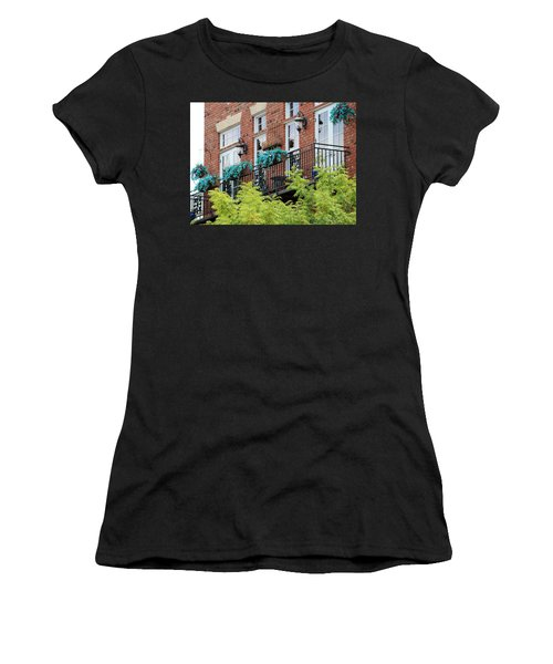Blue Flowers On A Balcony  Women's T-Shirt