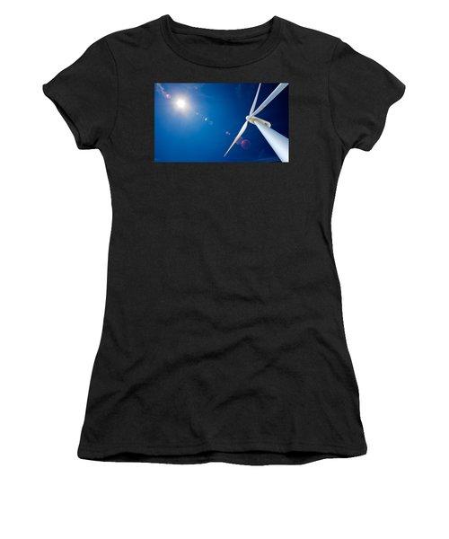 Wind Turbine And Sun  Women's T-Shirt