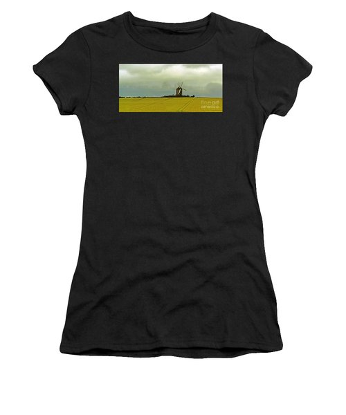 Windmill And Rapeseed And Storm Women's T-Shirt (Athletic Fit)