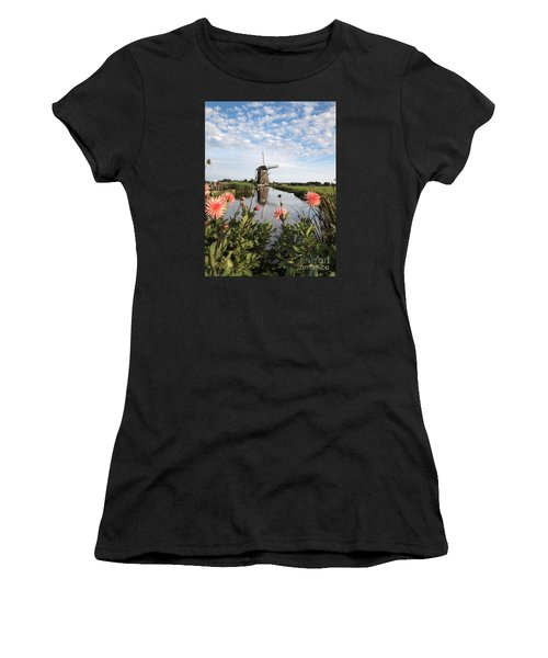 Windmill Landscape In Holland Women's T-Shirt (Athletic Fit)