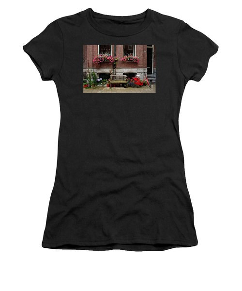 Window Box Bicycle And Bench  -- Amsterdam Women's T-Shirt