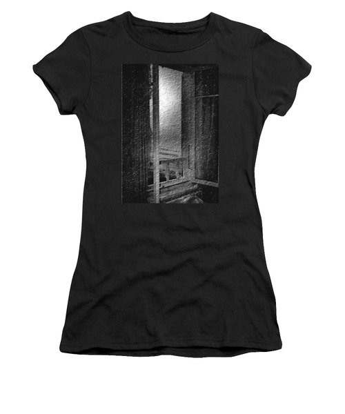 Window Ocean View Black And White Digital Painting Women's T-Shirt (Athletic Fit)