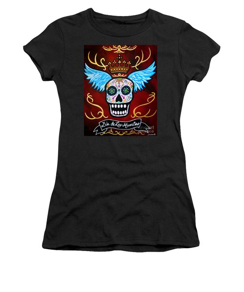 Women's T-Shirt (Junior Cut) featuring the painting Winged Muertos by Pristine Cartera Turkus