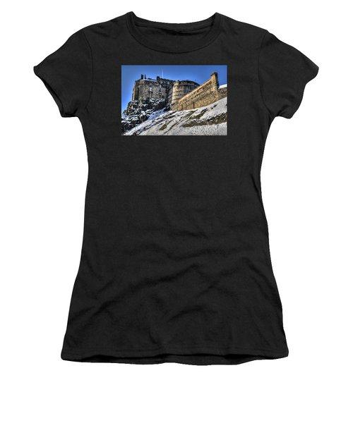 Winter At Edinburgh Castle Women's T-Shirt (Athletic Fit)