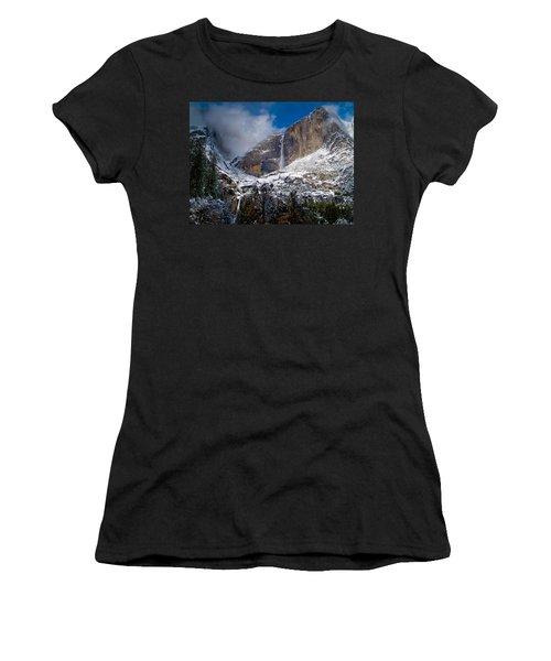 Winter At Yosemite Falls Women's T-Shirt (Junior Cut) by Bill Gallagher