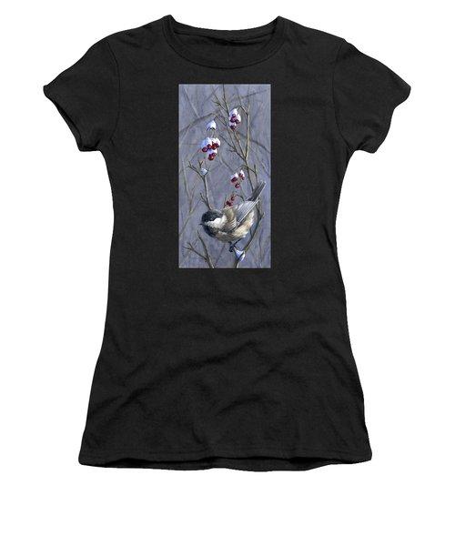 Winter Harvest 2 Chickadee Painting Women's T-Shirt