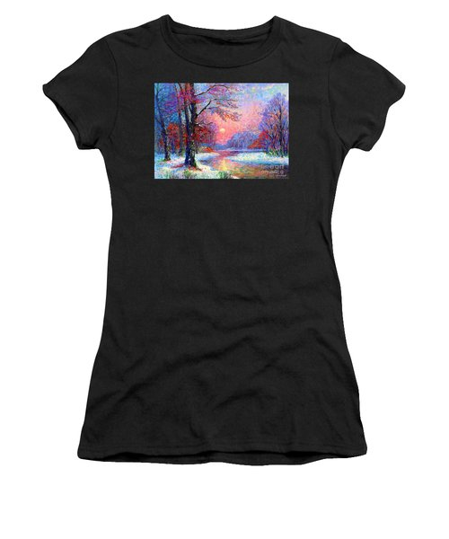 Winter Nightfall, Snow Scene  Women's T-Shirt (Athletic Fit)